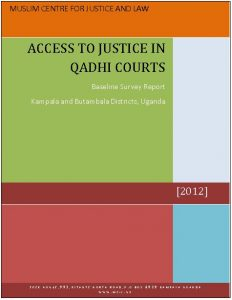 Book Cover: BASELINE SURVEY ON ACCESS TO JUSTICE IN QADHI COURTS